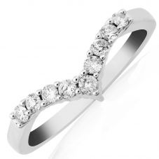 9ct White Gold Diamond Half Eternity Wishbone Ring DR798W