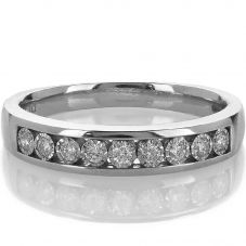 9ct White Gold Half Eternity 0.15ct Diamond Ring H6045D-9W-015G