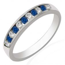 9ct White Gold Sapphire and Diamond Channel Set Half Eternity Ring R10047S25S WG