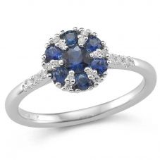 9ct White Gold Sapphire and Diamond Shouldered Cluster Ring 32.08275.008 M