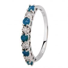 9ct White Gold Claw Set Sapphire And Diamond Half Eternity Ring H6142S-9W-008F