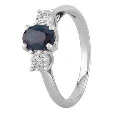 9ct White Gold Sapphire and Diamond Three Stone Ring J5087S-9W-010 M
