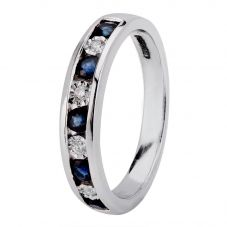 9ct White Gold Channel Set Sapphire And Diamond Half Eternity Ring H6143S-9W-006F