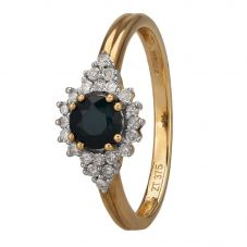9ct Yellow Gold Sapphire and Diamond Cluster Ring OJR0265-BS-9KY