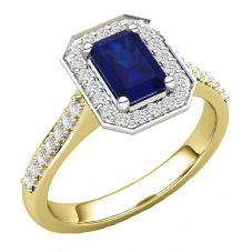 9ct Baguette Cut Sapphire and Round  Diamond Cluster Shouldered Ring R4073-64S Y 9