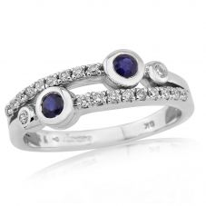 9ct White Gold Sapphire and Diamond Split Ring DSR1547W