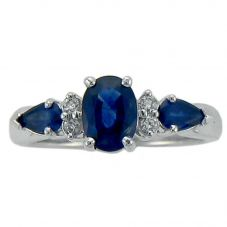 9ct White Gold Multi-cut Sapphire and Diamond Ring 51V32WG-9 SAPH