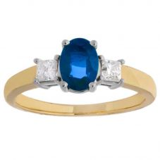 18ct Yellow Gold Oval Sapphire and Diamond Trilogy Ring 4175YG-18 SAPH L