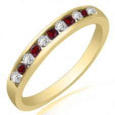 9ct Yellow Gold Ruby and Diamond Channel Set Half Eternity Ring R10047S25R YG
