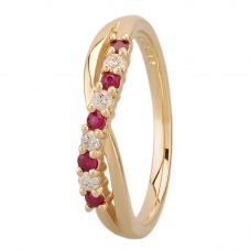 9ct Yellow Gold Ruby and Diamond Crossover Half Eternity Ring 9052/9Y/DQ1025R