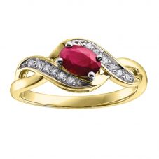 9ct Yellow Gold Ruby and Diamond Swirl Ring 51Z50YG/9 RUB