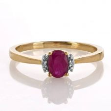 9ct Gold Oval Diamond Ruby Ring VRS1001-R
