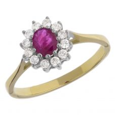 9ct Gold Diamond Ruby Oval Ring DRR138