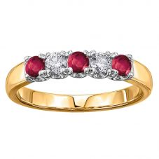 18ct Yellow Gold Ruby and Diamond Half Eternity Ring 50J03YW/75-18 RBYY N