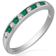 9ct White Gold Emerald and Diamond Channel Set Half Eternity Ring R10047S25E WG