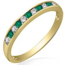 9ct Yellow Gold Emerald and Diamond Channel Set Half Eternity Ring R10047S25E YG