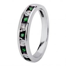 9ct White Gold Channel Set Emerald And Diamond Half Eternity Ring H6143E-9W-006F