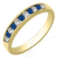 9ct Yellow Gold Sapphire and Diamond Channel Set Half Eternity Ring R10047S25S YG