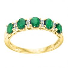 9ct Gold Emerald and Diamond Ring CR7739 9KY/EM