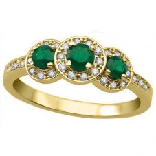9ct Yellow Gold Emerald and Diamond Triple Cluster Ring L54282YG/EM