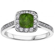 18ct White Gold Cushion-cut Emerald and Diamond Cluster Ring 3079WG/75-18 EM