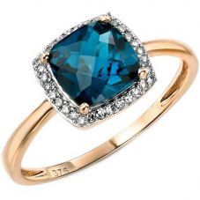 9ct Gold London Blue Topaz Diamond Cluster Ring GR453T