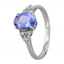 9ct White Gold Oval Tanzanite Diamond Shouldered Ring BSR0041-T2A