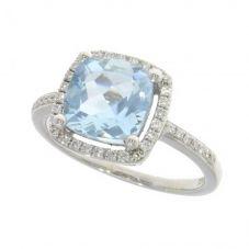 18ct White Gold Cushion-cut Aquamarine and Diamond Halo Ring 02.32.112