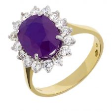 18ct Yellow Gold Oval Amethyst and Diamond Cluster Ring V236/AM/21319C