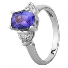 18ct White Gold Oval Tanzanite and Diamond Trilogy Ring  4174WG-18 TANZ M