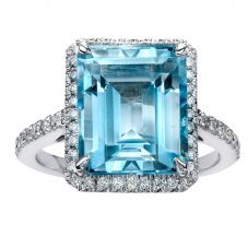 18ct White Gold Baguette-cut Blue Topaz and Diamond Halo Ring 52C74WG-18 BT