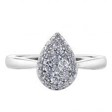 9ct White Gold 0.50ct Diamond Pavé Pear Cluster Halo Ring 30319WG/50-9