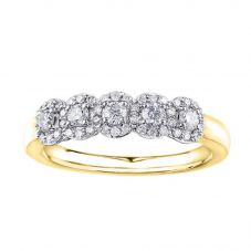 9ct Yellow Gold 0.50ct Diamond Five Cluster Ring 50J23YG/50-9