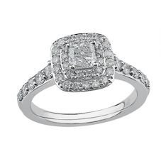 9ct White Gold 0.50ct Princess-cut Diamond Double Halo Ring 3812WG/50-9