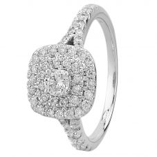 9ct White Gold 1.00ct Diamond Double Halo Ring THR14620-100