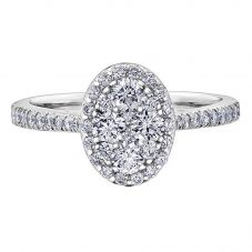 9ct White Gold 1.00ct Diamond Pavé Oval Cluster Halo Ring 30275WG/100-9