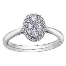 9ct White Gold 0.50ct Diamond Pavé Oval Cluster Halo Ring 30276WG/50-9