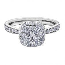 9ct White Gold 0.75ct Diamond Pavé Cushion Cluster Halo Ring 30336WG/75-9