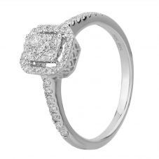 9ct White Gold 0.49ct Diamond Baguette Halo Cluster Ring THR15209-50