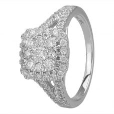 9ct White Gold 1.00ct Diamond Shouldered Square Cluster Ring SKR19764-100SOD