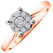 9ct Rose Gold 0.25ct Diamond Round Cluster Ring 1903RW/25-9