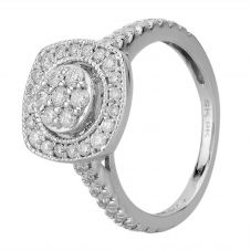 9ct White Gold 0.50ct Square Cut Pave Diamond Cluster Ring SKR15485-50 J