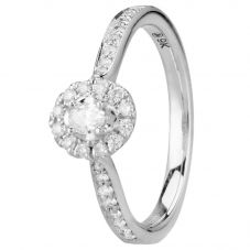 9ct White Gold 0.30ct Oval-cut Diamond Cluster Ring 30520WG/30-10