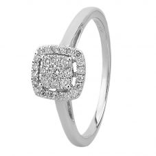 9ct White Gold 0.25ct Diamond Cushion Cluster Ring SKR10926-25
