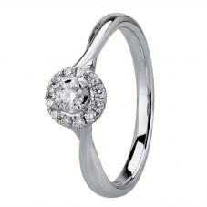 9ct White Gold 0.20ct Diamond Twist Cluster Ring 30170WG/20-10