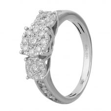 9ct White Gold 1.00ct Diamond Cluster Trilogy Ring SKR15119-100TB 9KW