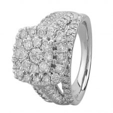 9ct White Gold 2.00ct Diamond Shouldered Cushion Cluster Ring THR18930-200