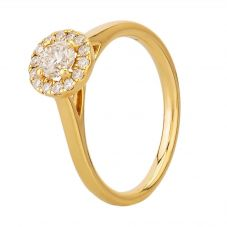 18ct Yellow Gold 0.45ct Diamond Cluster Halo Ring ENG4241 YG