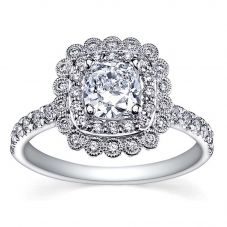 18ct White Gold 1.00ct Certificated Cushion-cut Diamond Vintage Cluster Ring 3833WG/100-18 M