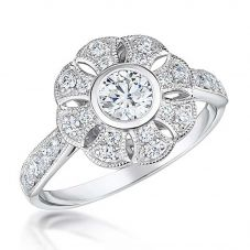 18ct White Gold Vintage 0.56ct Cut-out Flower Cluster Diamond Shoulders Ring VR13(4.0)